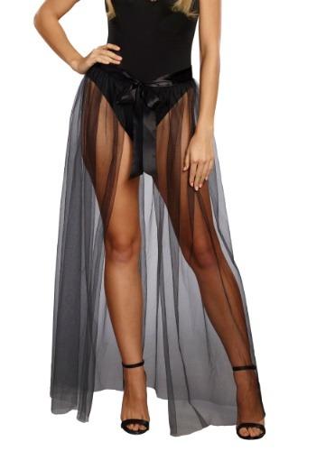 Sheer Tie-Front Black Skirt for Women