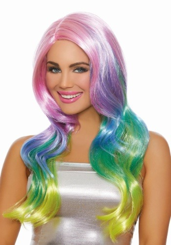 Click Here to buy Long Wavy Womens Rainbow Ombre Wig from HalloweenCostumes, CDN Funds & Shipping