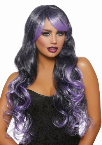 Womens Long Wavy Black/Lavender Ombre Wig