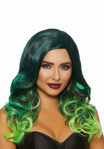 Long Wavy Black/Green Ombre Wig