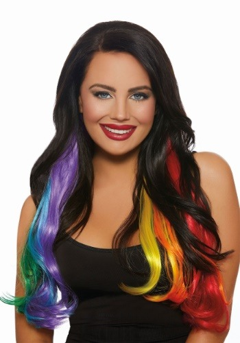 Long Wavy 3-Piece Primary Rainbow Hair Extensions