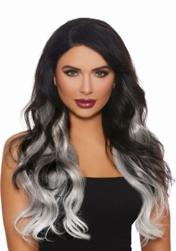 Long Straight 3-Piece Ombre Grey/White Hair Extensions