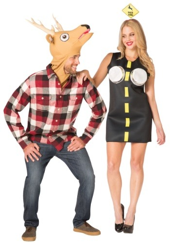 Click Here to buy Couples Costume - Deer in Headlights from HalloweenCostumes, CDN Funds & Shipping