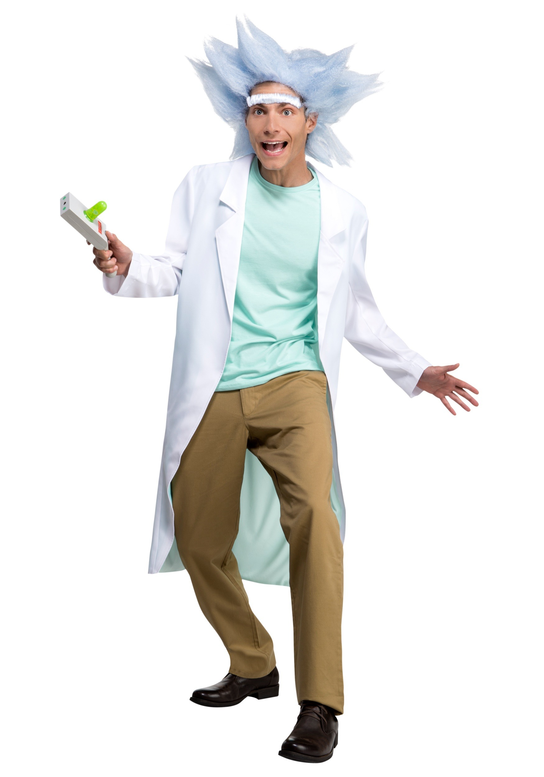 Deluxe Rick and Morty Adult Rick Costume with Wig & Unibrow