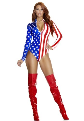 Zip Front American Flag Bodysuit Costume for Women