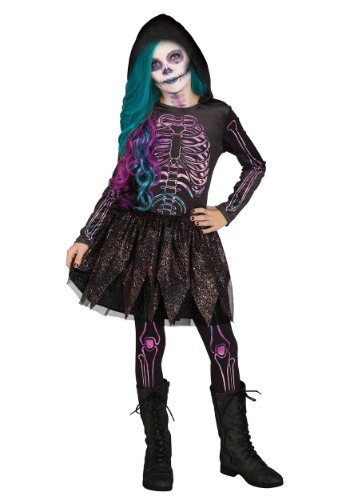 Click Here to buy Galaxy Skeleton Girls Costume from HalloweenCostumes, CDN Funds & Shipping