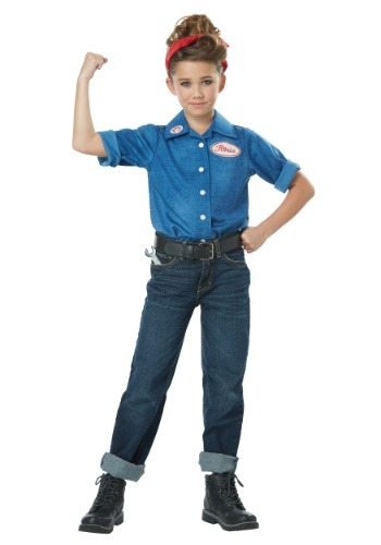 Click Here to buy Rosie the Riveter Girls Costume from HalloweenCostumes, CDN Funds & Shipping