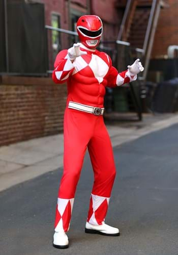 Click Here to buy Power Rangers Mens Red Ranger Muscle Costume from HalloweenCostumes, CDN Funds & Shipping