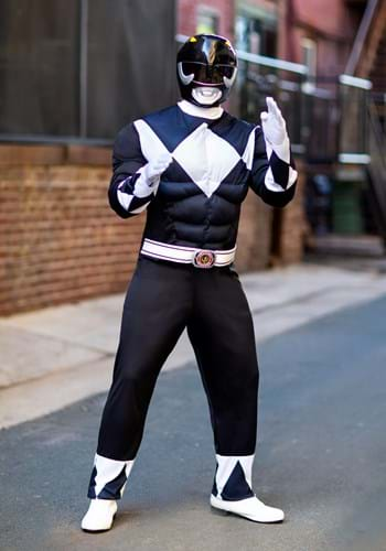 Mens Power Rangers Black Ranger Muscle Costume