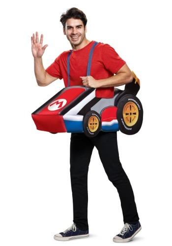 Click Here to buy Super Mario Kart Mario Ride In Costume for Adults from HalloweenCostumes, CDN Funds & Shipping