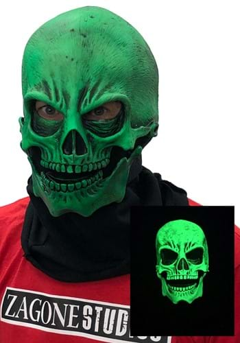 Adult UV Green Glow Skull Mask