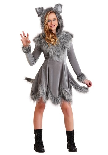 Wolf Costume Girls W/ Hooded Dress