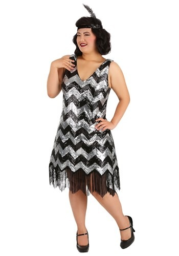 Plus Size Fringe Silver and Black Flapper Dress for Women