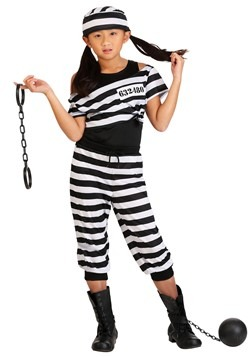 Girls Striped Prisoner Costume