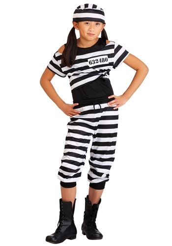 Click Here to buy Striped Prisoner Girls Costume from HalloweenCostumes, CDN Funds & Shipping