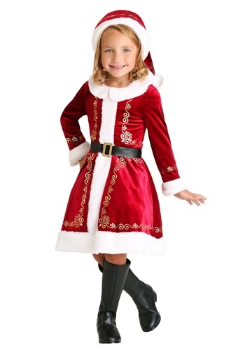 Click Here to buy Toddler Girls Santa Dress Costume from HalloweenCostumes, CDN Funds & Shipping