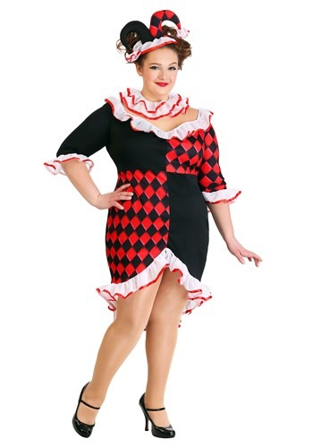 Womens Plus Size Haute Harlequin Costume