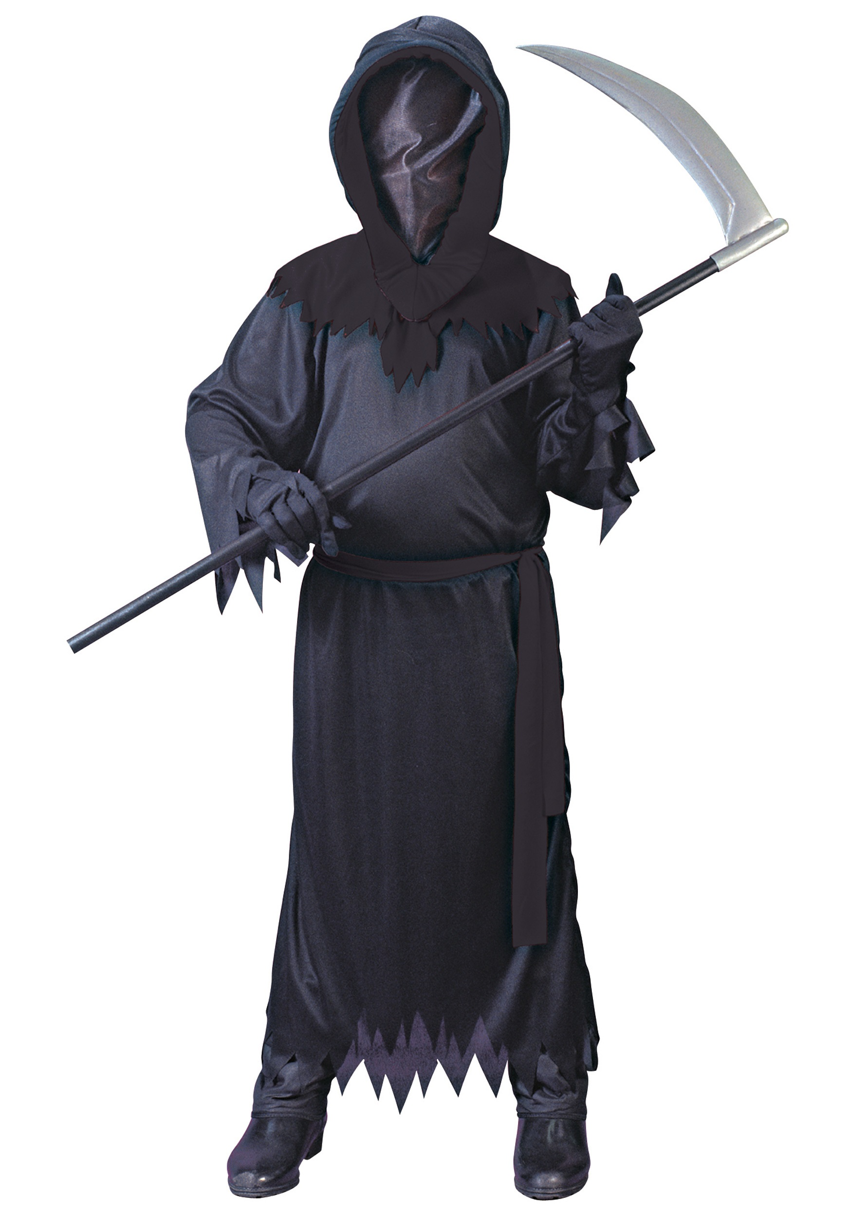 Adult DARKNESS DEATH COSTUME Mens Faceless Halloween Horror Black Robe Outfit UK