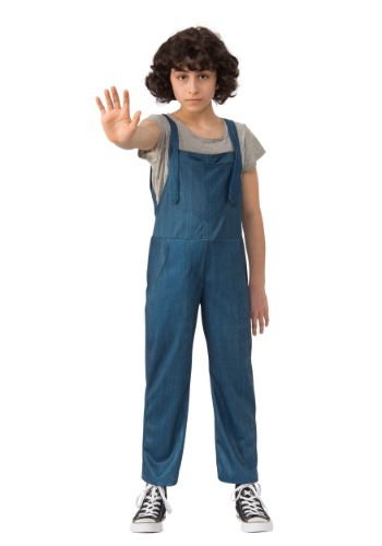 Click Here to buy Stranger Things Eleven Overalls Kids Costume from HalloweenCostumes, CDN Funds & Shipping