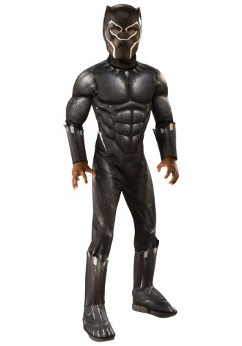 Click Here to buy Deluxe Kids Black Panther Costume from HalloweenCostumes, CDN Funds & Shipping