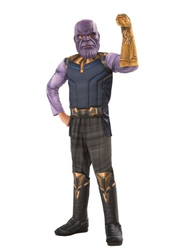Click Here to buy Marvel Kids Infinity War Deluxe Thanos Costume from HalloweenCostumes, CDN Funds & Shipping