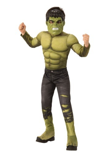 Click Here to buy Kidss Marvel Infinity War Deluxe Hulk Costume from HalloweenCostumes, CDN Funds