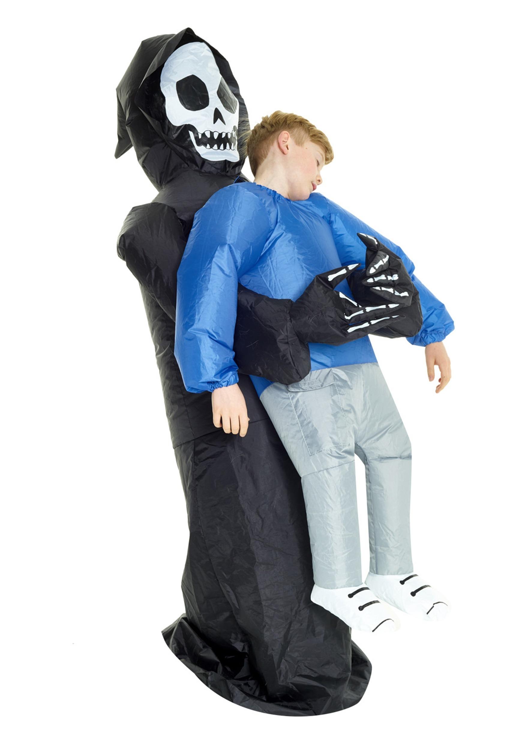 Kids lift me up Gonflable GRIM REAPER Costume Halloween Robe Fantaisie Garçons Piggy