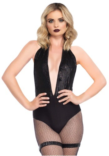 Black Plunging Halter Bodysuit Costume