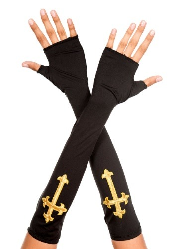 Click Here to buy Gold Cross Fingerless Gloves from HalloweenCostumes, CDN Funds & Shipping