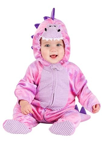 Sleepy Pink Dino Costume for an Infant