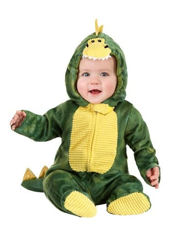 Sleepy Green Dino Costume for an Infant