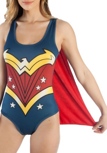 Click Here to buy DC Comics Wonder Woman Costume Bodysuit with Cape from HalloweenCostumes, CDN Funds & Shipping