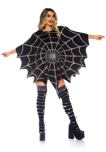 Black Glitter Spider Web Adult Size Costume Poncho