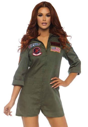 Click Here to buy Womens Top Gun Flight Suit Costume Romper from HalloweenCostumes, CDN Funds & Shipping