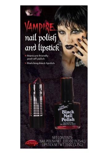 Black Nail Polish and Lipstick