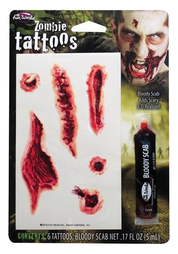 Click Here to buy Zombie Tattoos from HalloweenCostumes, CDN Funds & Shipping