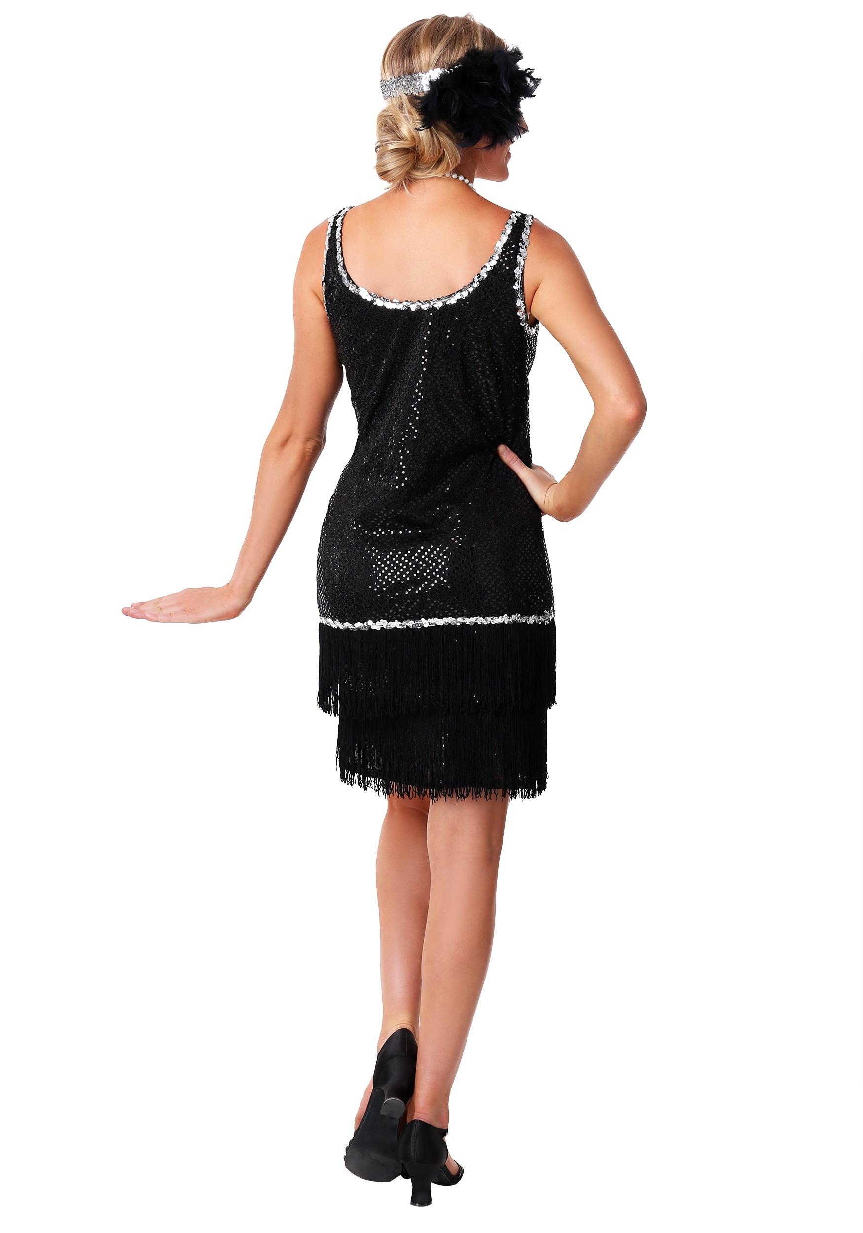 Sequin Amp Fringe Black Flapper Dress Costume