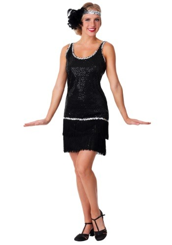 Click Here to buy Sequin & Fringe Black Flapper Dress Costume from HalloweenCostumes, CDN Funds & Shipping