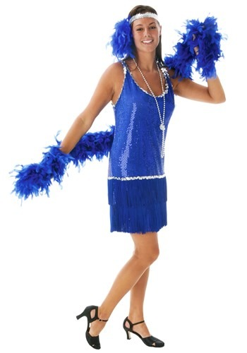 Royal Blue Sequin & Fringe Flapper Dress