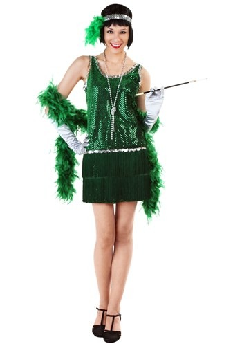 Click Here to buy Sequin & Fringe Green Flapper Costume from HalloweenCostumes, CDN Funds & Shipping