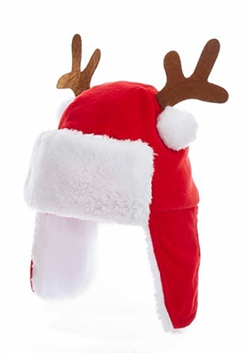 "7"" Plush Red Kids Christmas Hat w/ Antlers"