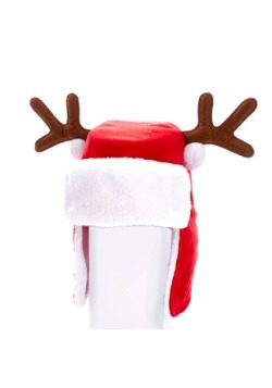"""12"""" Plush Red Adult Christmas Hat w/ Antlers"""
