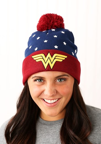 Click Here to buy DC Comics Wonder Woman Navy Red Gold Jrs Cuff Knit Hat from HalloweenCostumes, CDN Funds & Shipping