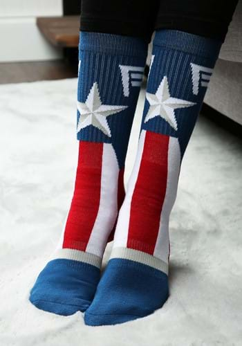 Click Here to buy Marvel: Captain America Suit Up Crew Socks from HalloweenCostumes, CDN Funds
