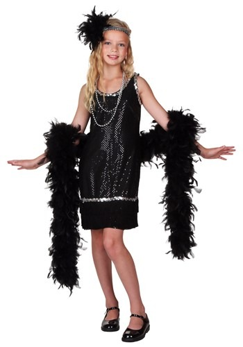 Kids Black Sequin and Fringe Flapper Costume