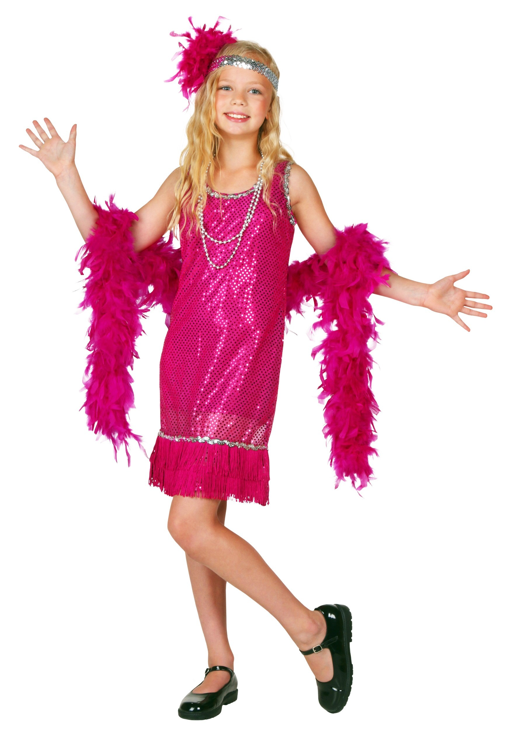 f4bd505117 Child Fuchsia Sequin And Fringe Flapper Costume. Pink And Black Flapper  Dress