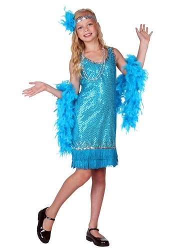 Click Here to buy Kids Turquoise Sequin and Fringe Flapper Costume from HalloweenCostumes, CDN Funds & Shipping