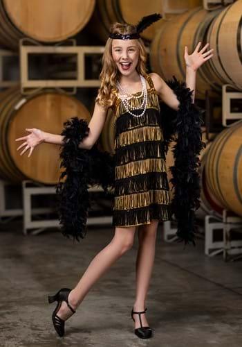 Kids Gold and Black Fringe Flapper Costume