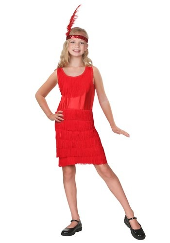 Click Here to buy Kids Red Fringe Flapper Costume from HalloweenCostumes, CDN Funds & Shipping