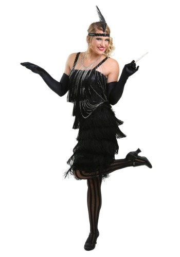 Black Charleston Flapper Costume Dress